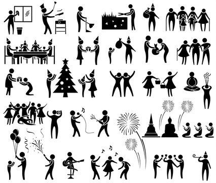 new year activity icon set