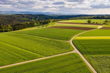 Luftaufnahme, Straße zwischen Agrarflächen, Schwäbischer Wald, Baden Württemberg, Deutschland