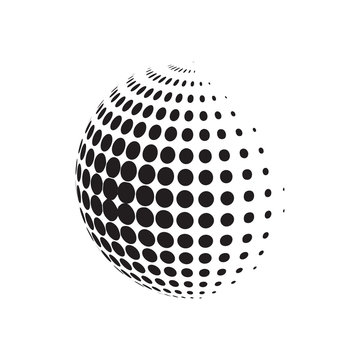 Circle halftone with dotts. Radial doted element. Logotype template.