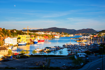 Wall Mural - Aerial view of the city center of Kristiansund, Norway during the sunny day