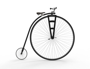3D rendering of a vintage velocipede isolated on white background