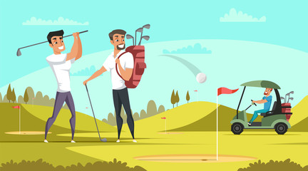 Young sporty men playing golf flat illustration