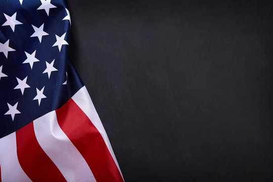 American flag on black background with copy space.