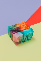 Pastel colors Natural Luxury. Marbleized effect on soap slices. Bright and soft color geometry...