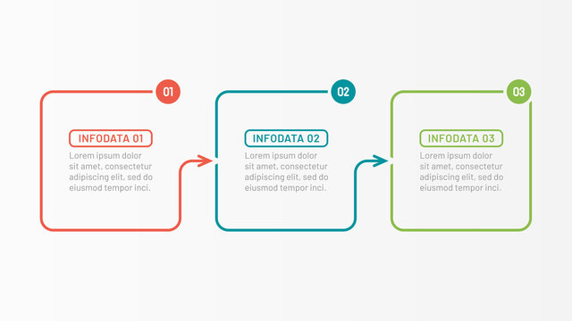 Business process step design template. Timeline infographic with 3 options, arrows. Vector thin line elements for presentation.