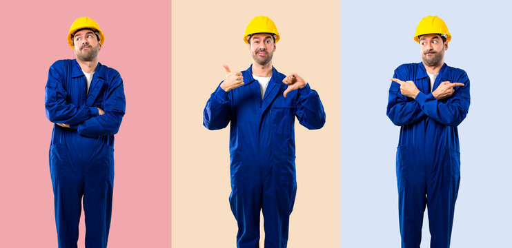 Set of Young workman with helmet making good-bad sign. Undecided person between yes or not on colorful background