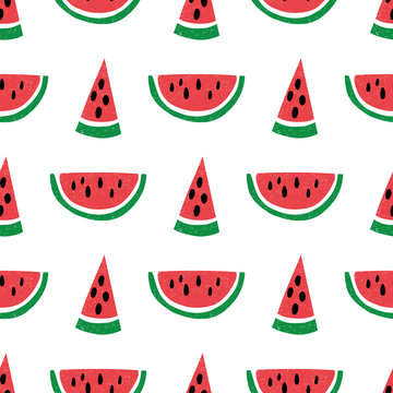 Seamless pattern with hand drawn watermelons. Childish texture for fabric, textile, vector fill. Vector background