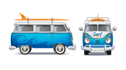 Realistic retro bus with surfboard. Summertime poster with vintage van, beach party poster vector design. Blue 3d vehicle for travel and surfing. Classic wagon car for summer holiday