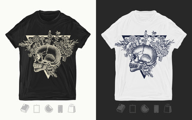 Human skull and herbs. Print for t-shirts and another, trendy apparel design. Tattoo art