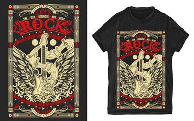 Rock music. Electric guitar with wings. Print for t-shirts and another, trendy apparel design. Heavy metal, Let's Rock slogan. Musical old school art