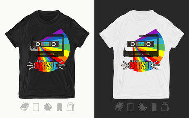 Music. Audio cassete and rainbow. Modern musical print for t-shirts and another, trendy apparel design