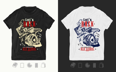 Audio cassette, guitar and skull hipster. Let's Rock slogan. Print for t-shirts and another, trendy apparel design