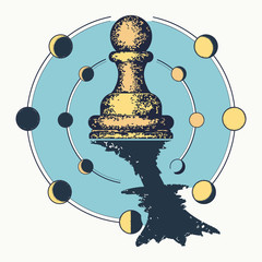 Chess. Pawn dreams to become queen. Symbol of motivation, career, leadership, tactics and strategy, surreal art. Ambitions concept. Color tattoo