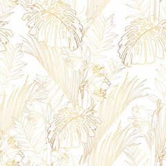 Tropical exotic floral golden line palm leaves and flowers seamless pattern, white background. Exotic jungle wallpaper.