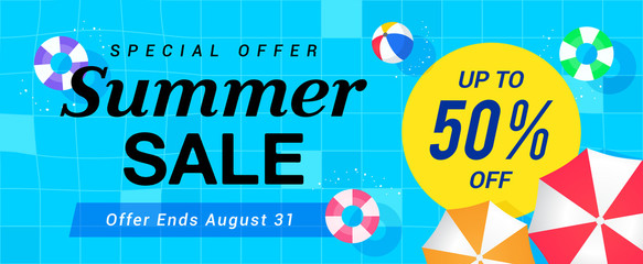 Summer Sale Banner Vector illustration. top view of pool with swim tube.