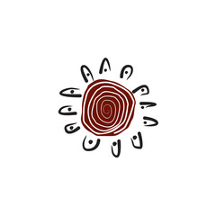Aboriginal art icon logo design vector template