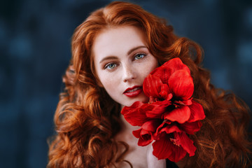 beauty and red flower