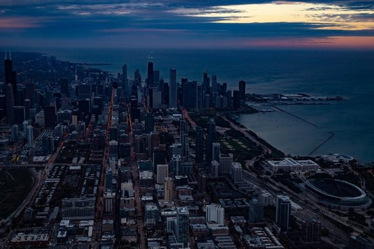 Downtown Chicago Skyline at Dawn