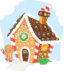 Ginger Bread Man House Illustration