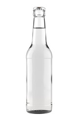 Clear white glass bottle Long Neck with a clear liquid. 12oz (11 oz) or 355 ml (330 ml) volume. Isolated 3D render on a white.