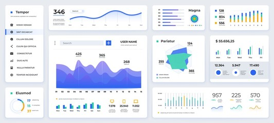Dashboard UI. Modern presentation with data graphs and HUD diagrams, clean and simple app interface. Vector abstract modern web UI design Wall mural