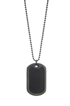 Rubber edge black military dog tag hanging with necklace isolated on white background