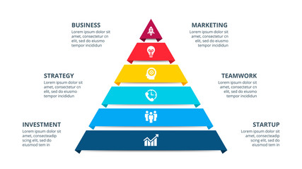 Vector pyramid infographic with 6 options. Business presentation template. Can be used for workflow layout, diagram, business step options, banner, web design.