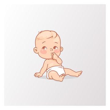 Cute little baby boy or girl in diaper sitting..