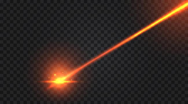 Realistic laser beam on transparent background. Vector illustration.