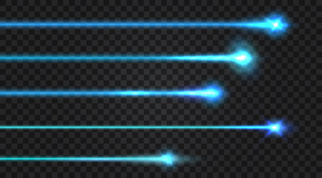 Set of realistic laser beams on transparent background. Vector illustration.