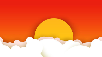 3d vector paper cut white clouds and sun on evening sky. Cartoon art illustration in minimalistic craft carving style. Modern layout colorful concept for background cover, poster, card.