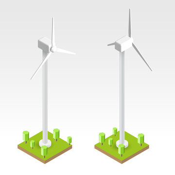 Wind turbines in 3d cartoon isometric view isolated on white background. Vector illustration.