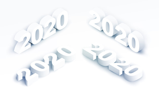 Set of 3d realistic vector white number 2020 in isometric view. Happy new year design concept. Minimalistic trendy illustration for branding banner, cover, poster, card.