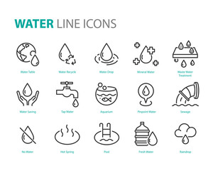 set of water icons ,such as  water drop, treatment, sewage, recycle, fresh, save