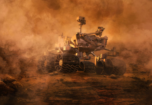Mars rover exploring surface of Mars during mars dust sandy storm. Image of automated robotic space autonomous vehicle on the red Mars planet. Space exploration, astronomy science concept. 3D render
