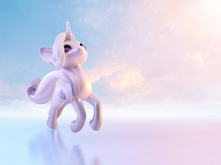 Custom vertical slats with your photo Cheerful cute funny unicorn baby, magical cartoon unicorn toy character on cloudy background. 3D illustration.