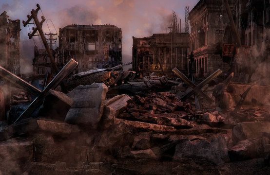 Ruined abandoned city after war battle attack. Buildings on the street destroyed by war, battlefield. Apocalypse, environment ecology, pollution, peace and world war concept. 3D