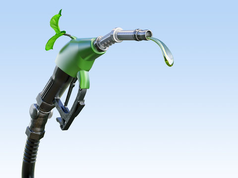 Gas  or diesel pump nozzle with gasoline or biofuel drop and growing green sprout symbolising environmental friendliness, isolated. Ecological gas diesel biofuel concept. 3D illustration