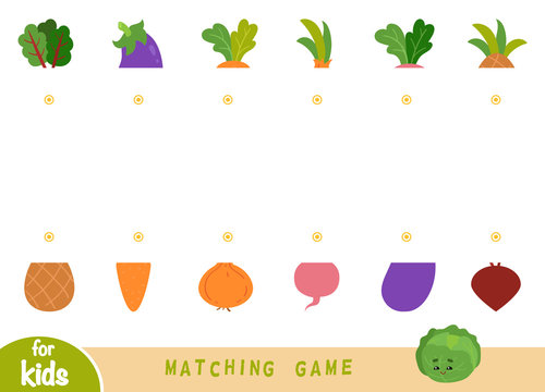 Matching game, educational game for children. Match the halves. Set of fruits and vegetables