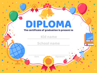 Graduate diploma. School graduation, graduates congratulations and preschool kid or kindergarten certificate vector illustration