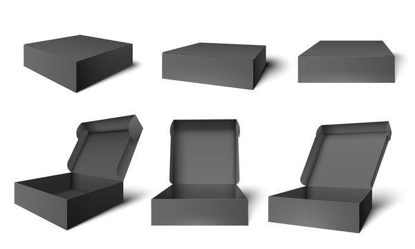 Open black packaging box. Dark cardboard opened and closed boxes, package mockup template vector illustration set