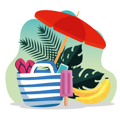 Wall Mural - umbrella with flip-flop inside purse with bananas and leaves plants