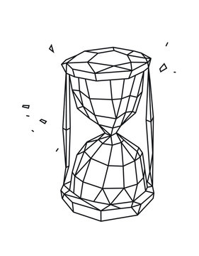 Low poly illustration of an hourglass. Vector. Outline drawing. Retro style. Background, symbol, emblem for the interior. Business metaphor.