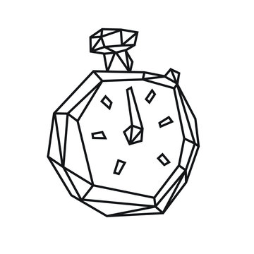 Low poly illustration of a sports stopwatch. Vector. Outline drawing. Retro style. Background, symbol, emblem for the interior. Business metaphor.
