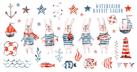 Watercolor rabbit sailor, cartoon seaman set