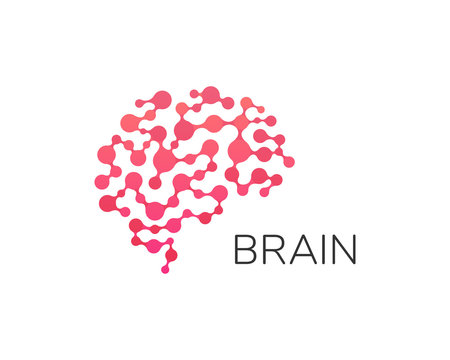 Human brain logo. Neural network, memory atlas, minimal design vector logo. Artificial intelligence