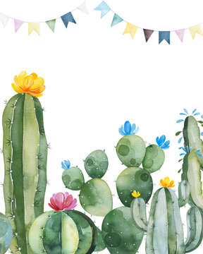 Party invitation with green watercolor cactus,succulents,flowers and multicolored garlands.Birthday card.Perfect for your project,wedding,print,baby shower,bridal,template,invite and more.
