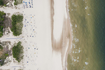 Top down view of the sandy baltic sea beach with beach baskets.