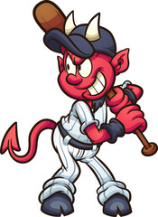 Baseball devil mascot with wooden bat clip art. Vector illustration. All in a single layer.