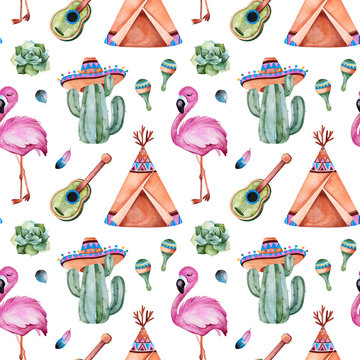 Seamless pattern with mexican ethnic elements:cactus,sombrero,maracas,teepee,guitar,flamingo,feathers and more.White background.Perfect for your project,wallpaper,print,packaging and cover desing.